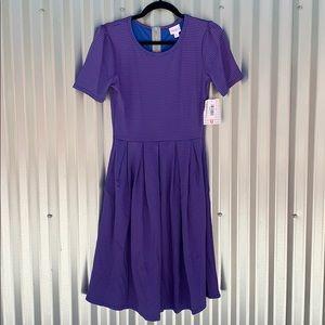 NWT Lularoe Blue and Watermelon Amelia Day Dress S